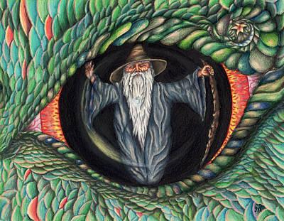 Wizard Drawing - Wizard In Dragon's Eye by Karen Musick