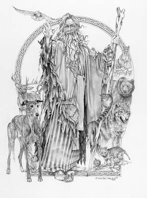 Wizard Drawing - Wizard Iv - Wandering Wiseman - Pax Consensio by Steven Paul Carlson
