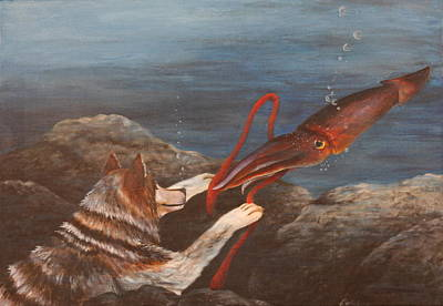 Giant Squid Painting - Wolf And Squid by Michelle Miron-Rebbe