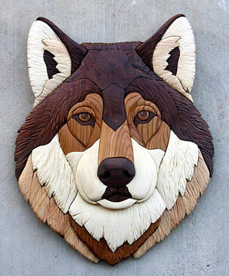 Intarsia Sculpture - Wolf by Bill Fugerer