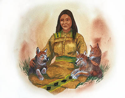 Painting - Wolf Clan Mother by John Guthrie