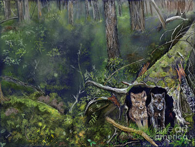 Wolf Cubs In A Hollow Tree Print by Barb Kirpluk