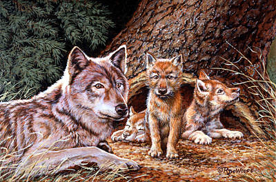Wolves Painting - Wolf Den by Richard De Wolfe