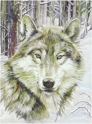 Wild Wolf Mixed Media - Wolf Head by Morgan Fitzsimons