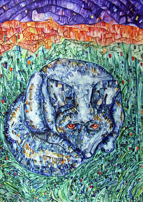 Wolf In The Grass Print by Alexander Chachanidze
