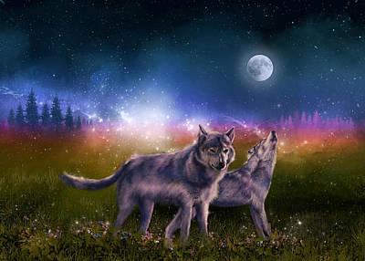Night Landscape Digital Art - Wolf In The Moonlight by Bekim Art