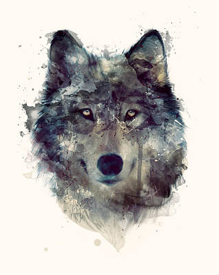 Animals Mixed Media - Wolf // Persevere by Amy Hamilton