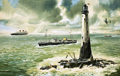 Gouache Painting - Wolf Rock Lighthouse At Land's End by Wilf Hardy