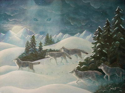 Snowscape Painting - Wolfspirit by Bernadette Wulf