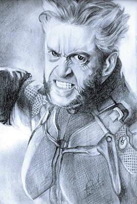 Super Hero Drawings Drawing - Wolverine by Rumesh Fonseka