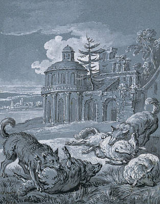 Blue And Grey Drawing - Wolves Attacking Sheep by Jean-Baptiste Oudry