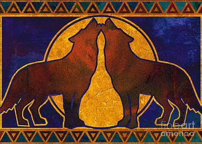 Wild Wolf Mixed Media - Wolves Howling At The Moon by Linda Henry
