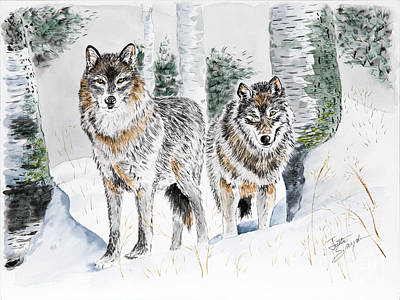 Wolf Watercolor Painting - Wolves In The Birch Trees  by Joette Snyder