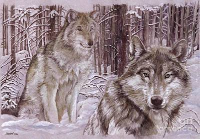 Wolf Mixed Media - Wolves In The Snow by Morgan Fitzsimons