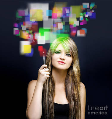 Woman Accessing Digital Media With Touch Screen Print by Jorgo Photography - Wall Art Gallery