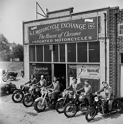 The Motor Maids Of America Outside The Shop They Used As Their Headquarters, 1950. Print by Lawrence Christopher