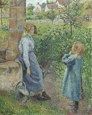 Woman And Child At The Well Print by Camille Pissarro