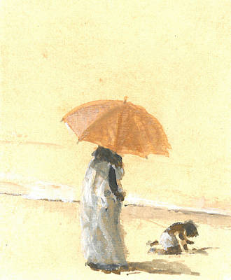 Woman And Child On Beach Print by Lincoln Seligman