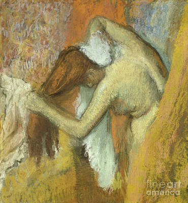 Hair-washing Pastel - Woman At Her Toilette by Edgar Degas