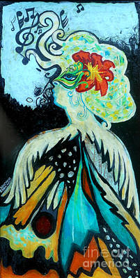 Woman At The Masquerade Ball Print by Genevieve Esson