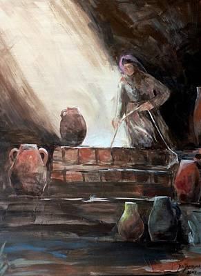 Water Jars Painting - Woman At The Well  by Jun Jamosmos