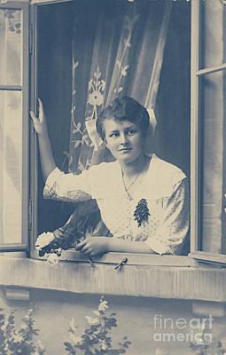 Woman At The Window Print by Jutta Maria Pusl