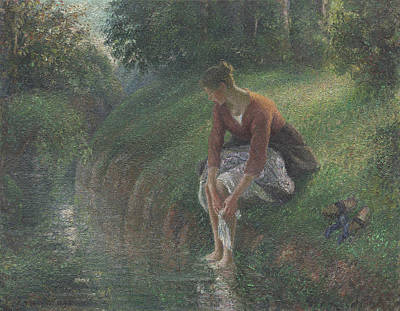 Woman Bathing Her Feet In A Brook Print by Camille Pissarro