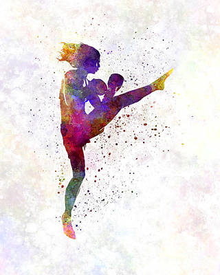 Boxer Painting - Woman Boxer Boxing Kickboxing Silhouette Isolated 01 by Pablo Romero