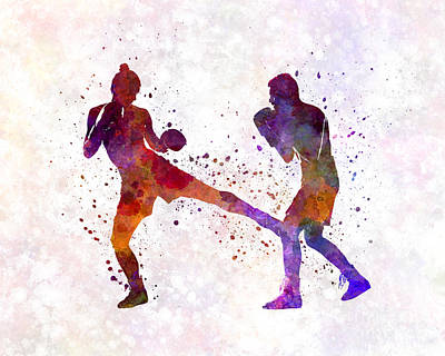 Woman Boxer Boxing Man Kickboxing Silhouette Isolated 02 Print by Pablo Romero