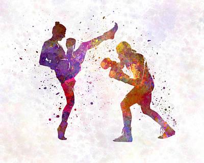 Woman Boxwe Boxing Man Kickboxing Silhouette Isolated 01 Print by Pablo Romero