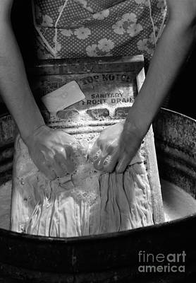 Washtub Photograph - Woman Doing Laundry By Hand, C. 1930s by H. Armstrong Roberts/ClassicStock