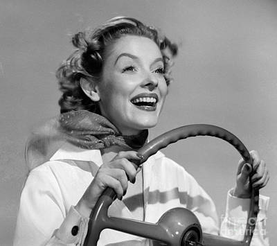 Woman Driving And Smiling, C.1950s Print by Debrocke/ClassicStock