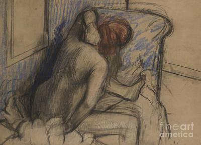 Hair-washing Pastel - Woman Drying Her Hair by Edgar Degas