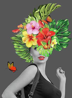Woman Floral  Print by Mark Ashkenazi