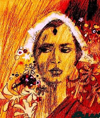 Drawing - Woman From India by Ocean