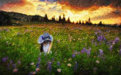 Digital Painting - Woman In A Meadow - Abstract Impressionist Painting by Katrina Britt