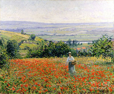 Woman In A Poppy Field Print by Leon Giran Max