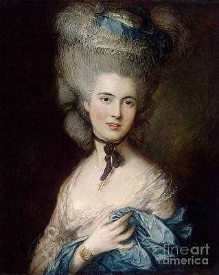 Woman In Blue The Duchess Of Beaufort Print by Gainsborough