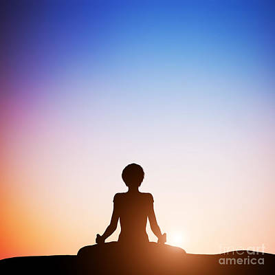 Copy Photograph - Woman In Lotus Yoga Pose Meditating At Sunset by Michal Bednarek