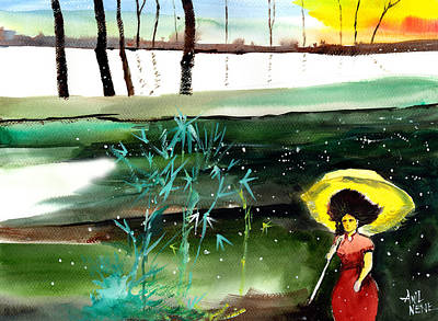 Abstract Beach Landscape Drawing - Woman In Red by Anil Nene