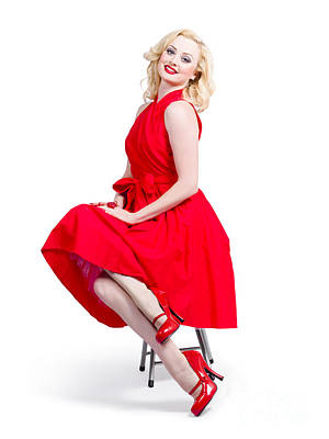 Marilyn Monroe Photograph - Woman In Romantic Red Dress. Retro Fashion Model  by Jorgo Photography - Wall Art Gallery
