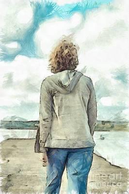 Harbors Drawing - Woman In Rustico Harbor Prince Edward Island by Edward Fielding