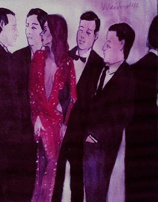 Woman In Sparkling Red Dress With Men  Original by Harry WEISBURD