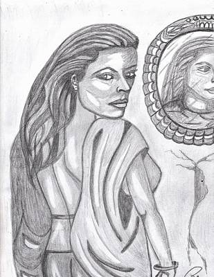 Woman In The Mirror Print by Richard Heyman