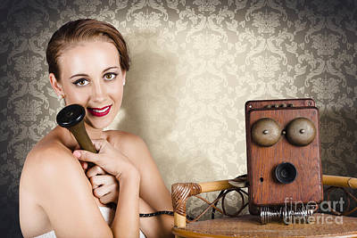 Woman In Vintage Daydream With Operator Phone Print by Jorgo Photography - Wall Art Gallery