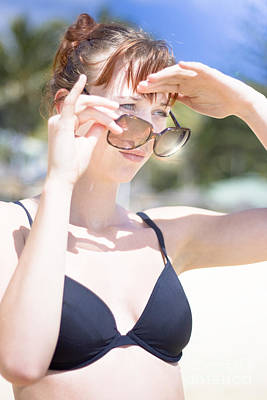 Woman Looking Over Sunglasses Print by Jorgo Photography - Wall Art Gallery