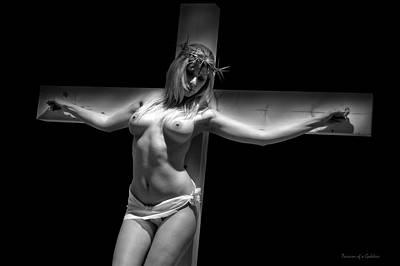 Woman On Cross Print by Ramon Martinez