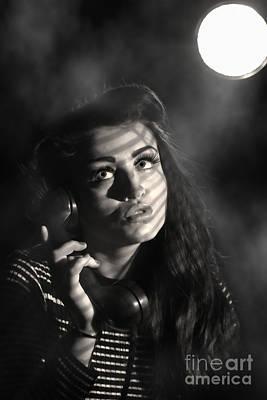 Femme Photograph - Woman On Vintage Telephone by Amanda Elwell