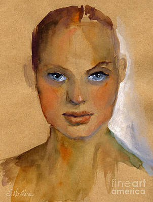 Print Card Painting - Woman Portrait Sketch by Svetlana Novikova