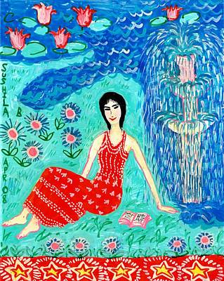 Sue Burgess Painting - Woman Reading Beside Fountain by Sushila Burgess